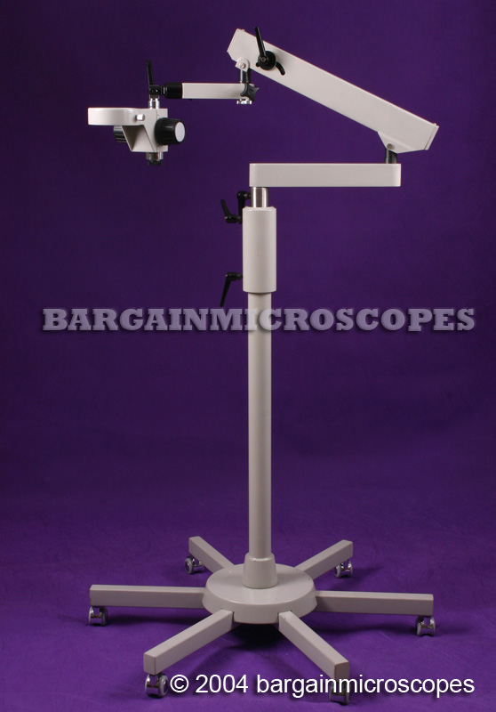 MOBILE FLOOR STAND W/ ARTICULATING BOOM ARM W/ FOCUSING HOLDER FOR MICROSCOPE