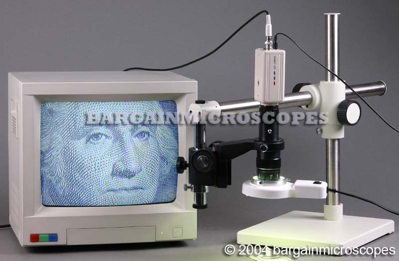 Video Zoom Inspection Boom Stand Mounted Microscope W/ C-Mount And CCD Camera W/Digital USB Camera