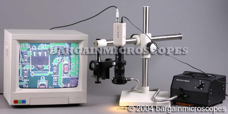 Video Zoom Inspection Boom Mounted Microscope Fiber Optic Illumination CCD Live Video Camera + USB Digital Camera