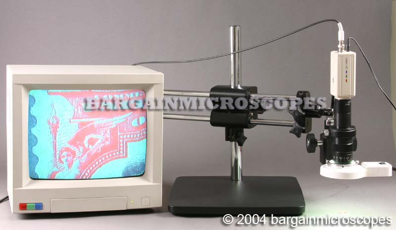 QC Inspection Station Dual Arm Boom Stand Mounted Video Zoom Microscope W/ Live Motion Video CCD Camera W/ USB Digital JPG Image Camera