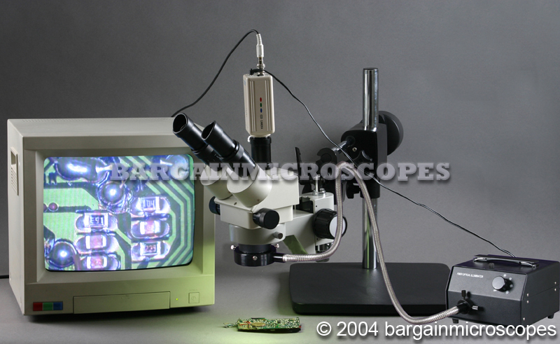 3x - 90x STEREO ZOOM FIBER OPTIC ILLUMINATION HEAVY DUAL ARM BOOM TRINOCULAR MICROSCOPE + DIGITAL USB AND CCD CAMERA