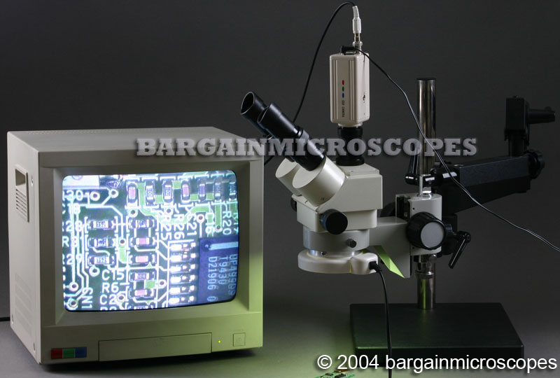 3x - 90x Zoom Magnification Stereoscopic Trinocular Articulating Boom Stand Mounted Microscope +USB + CCD Video Camera