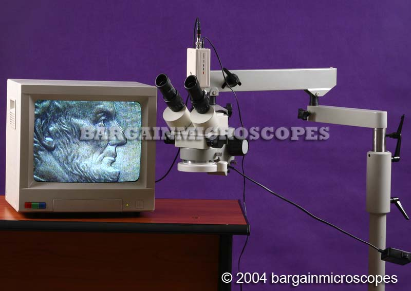 Mobile Floor Stand Mounted 3x - 90x Zoom Magnification Stereo Trinocular Microscope W/ USB + CCTV Video Camera Travel Case + 0.5x Lens