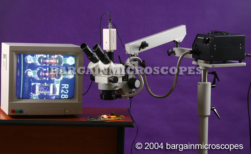 Mobile Floor Stand Mounted Fiber Optic Illuminated 3.5x - 90x Zoom Magnification Stereo Trinocular Microscope USB + CCD Camera + Case