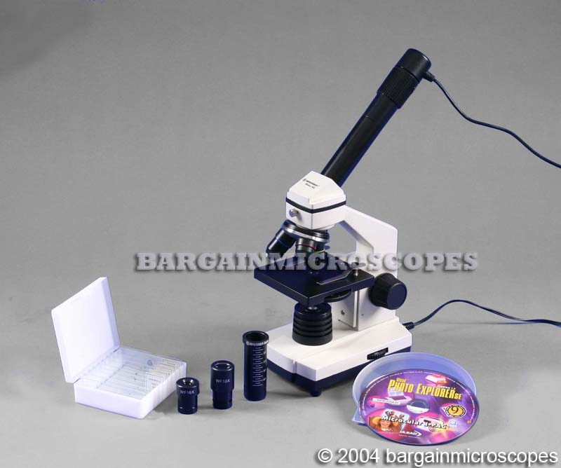 40X-640X HIGH POWER MONOCULAR BIOLOGICAL MICROSCOPE KIT + PREPARED SLIDES KIT + USB DIGITAL JPG CAMERA
