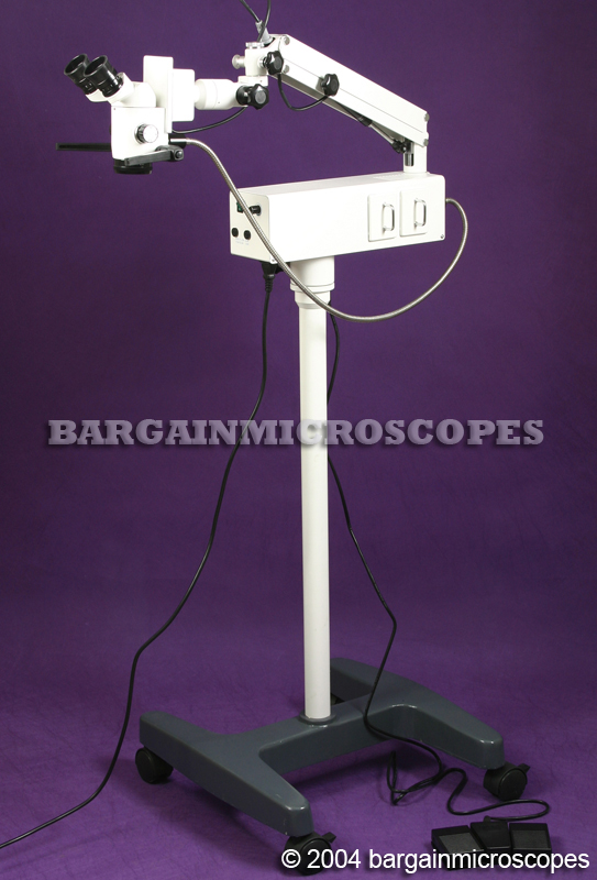 DENTAL ENT SURGICAL MICROSCOPE ARTICULATING MOBILE FLOOR STAND 5.3x - 8x - 12x MAGNIFICATIONS STRAIGHT BINOCULAR HEAD MOTORIZED FOOT CONTROL FOCUSING